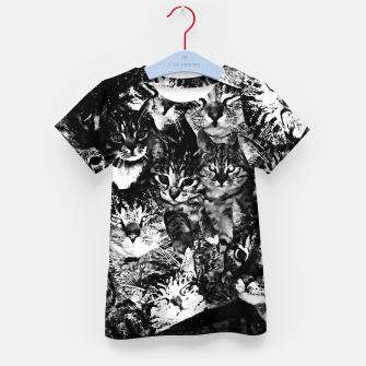 Thumbnail image of cat collage our beloved kitten cats watercolor splatters black white Kid's t-shirt, Live Heroes