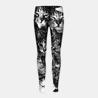 Thumbnail image of cat collage our beloved kitten cats watercolor splatters black white Girl's leggings, Live Heroes