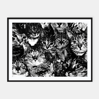 Thumbnail image of cat collage our beloved kitten cats watercolor splatters black white Framed poster, Live Heroes
