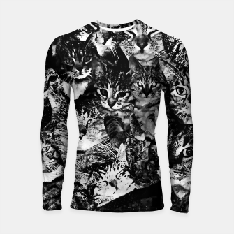 Thumbnail image of cat collage our beloved kitten cats watercolor splatters black white Longsleeve rashguard , Live Heroes