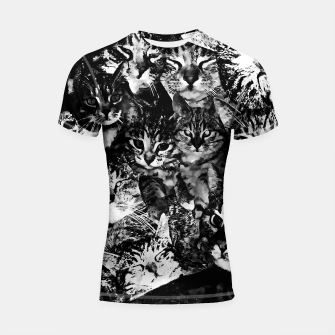 Thumbnail image of cat collage our beloved kitten cats watercolor splatters black white Shortsleeve rashguard, Live Heroes