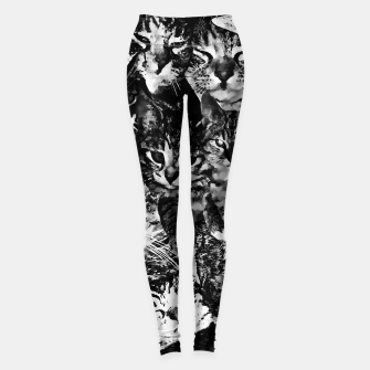 Thumbnail image of cat collage our beloved kitten cats watercolor splatters black white Leggings, Live Heroes