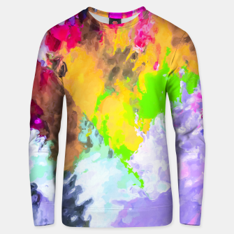 Miniaturka painting texture abstract background in purple yellow green pink Unisex sweater, Live Heroes