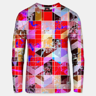 Thumbnail image of geometric square and triangle pattern abstract in red pink blue Unisex sweater, Live Heroes