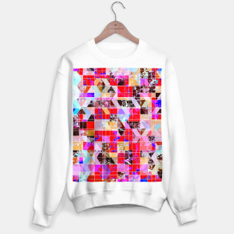 Miniaturka geometric square and triangle pattern abstract in red pink blue Sweater regular, Live Heroes