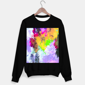 Miniaturka painting texture abstract background in purple yellow green pink Sweater regular, Live Heroes