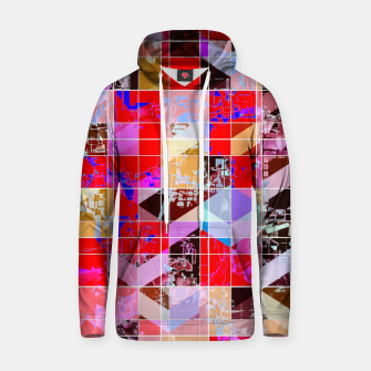 Thumbnail image of geometric square and triangle pattern abstract in red pink blue Hoodie, Live Heroes