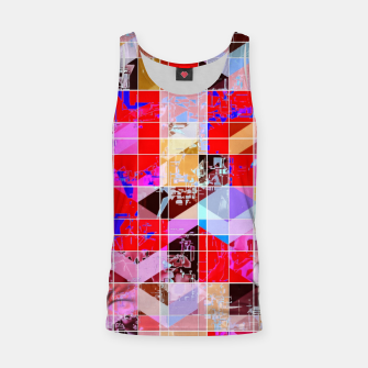 Thumbnail image of geometric square and triangle pattern abstract in red pink blue Tank Top, Live Heroes