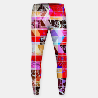 Thumbnail image of geometric square and triangle pattern abstract in red pink blue Sweatpants, Live Heroes