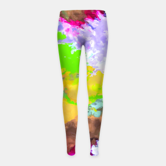 Miniatur painting texture abstract background in purple yellow green pink Girl's leggings, Live Heroes