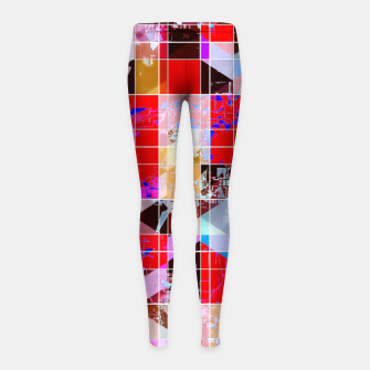 Miniatur geometric square and triangle pattern abstract in red pink blue Girl's leggings, Live Heroes
