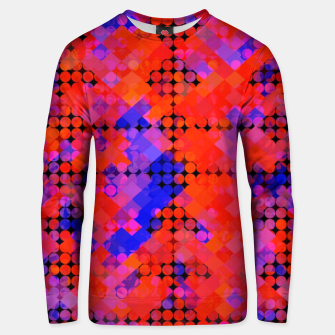 Thumbnail image of geometric circle and square pattern abstract in red orange blue Unisex sweater, Live Heroes