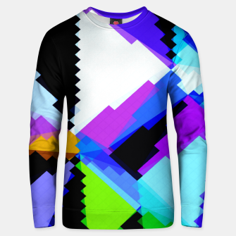 Thumbnail image of geometric triangle and square pattern abstract in blue purple green red Unisex sweater, Live Heroes