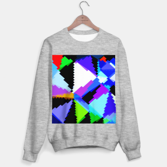 Imagen en miniatura de geometric triangle and square pattern abstract in blue purple green red Sweater regular, Live Heroes