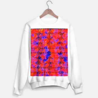 Miniaturka geometric circle and square pattern abstract in red orange blue Sweater regular, Live Heroes