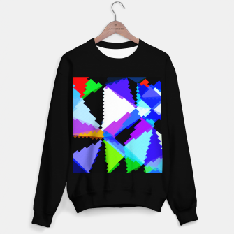 Miniaturka geometric triangle and square pattern abstract in blue purple green red Sweater regular, Live Heroes
