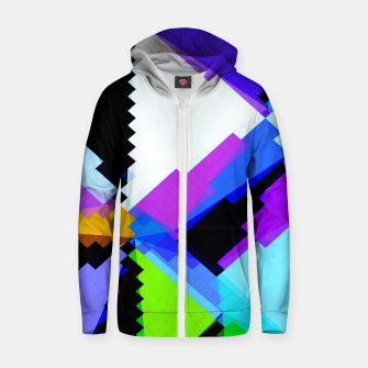 Miniature de image de geometric triangle and square pattern abstract in blue purple green red Zip up hoodie, Live Heroes