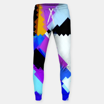 Thumbnail image of geometric triangle and square pattern abstract in blue purple green red Sweatpants, Live Heroes