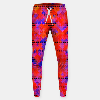 Thumbnail image of geometric circle and square pattern abstract in red orange blue Sweatpants, Live Heroes