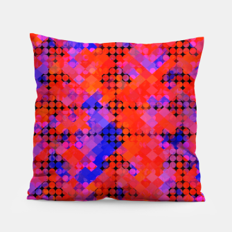 Thumbnail image of geometric circle and square pattern abstract in red orange blue Pillow, Live Heroes