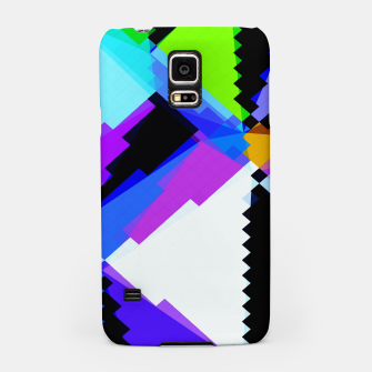 Thumbnail image of geometric triangle and square pattern abstract in blue purple green red Samsung Case, Live Heroes