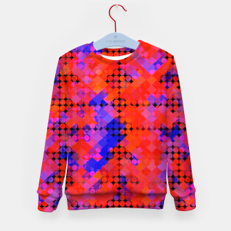 Thumbnail image of geometric circle and square pattern abstract in red orange blue Kid's sweater, Live Heroes