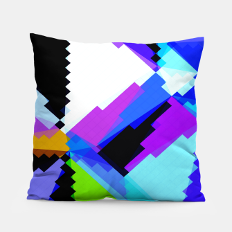 Thumbnail image of geometric triangle and square pattern abstract in blue purple green red Pillow, Live Heroes