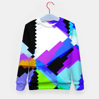 Thumbnail image of geometric triangle and square pattern abstract in blue purple green red Kid's sweater, Live Heroes