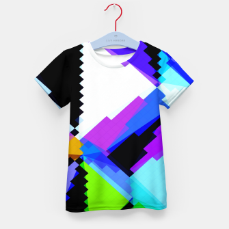 Thumbnail image of geometric triangle and square pattern abstract in blue purple green red Kid's t-shirt, Live Heroes