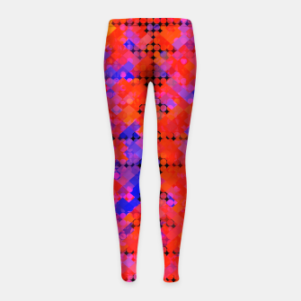 Thumbnail image of geometric circle and square pattern abstract in red orange blue Girl's leggings, Live Heroes