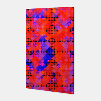 Thumbnail image of geometric circle and square pattern abstract in red orange blue Canvas, Live Heroes
