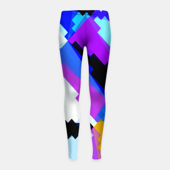 Thumbnail image of geometric triangle and square pattern abstract in blue purple green red Girl's leggings, Live Heroes