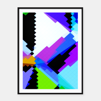 Thumbnail image of geometric triangle and square pattern abstract in blue purple green red Framed poster, Live Heroes