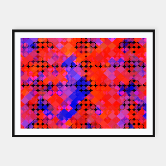 Thumbnail image of geometric circle and square pattern abstract in red orange blue Framed poster, Live Heroes
