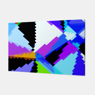 Thumbnail image of geometric triangle and square pattern abstract in blue purple green red Canvas, Live Heroes