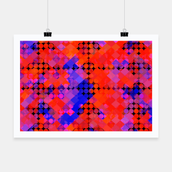Thumbnail image of geometric circle and square pattern abstract in red orange blue Poster, Live Heroes
