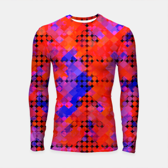 Thumbnail image of geometric circle and square pattern abstract in red orange blue Longsleeve rashguard , Live Heroes