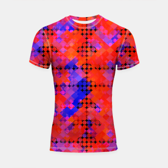 Thumbnail image of geometric circle and square pattern abstract in red orange blue Shortsleeve rashguard, Live Heroes