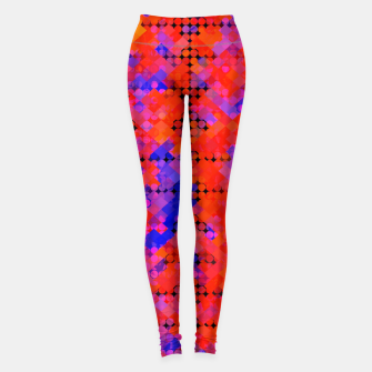 Thumbnail image of geometric circle and square pattern abstract in red orange blue Leggings, Live Heroes