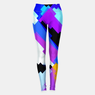 Thumbnail image of geometric triangle and square pattern abstract in blue purple green red Leggings, Live Heroes
