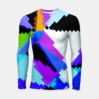 Thumbnail image of geometric triangle and square pattern abstract in blue purple green red Longsleeve rashguard , Live Heroes