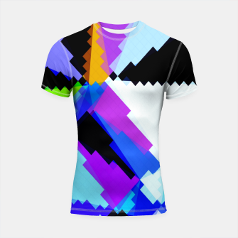 Thumbnail image of geometric triangle and square pattern abstract in blue purple green red Shortsleeve rashguard, Live Heroes