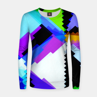 Thumbnail image of geometric triangle and square pattern abstract in blue purple green red Women sweater, Live Heroes