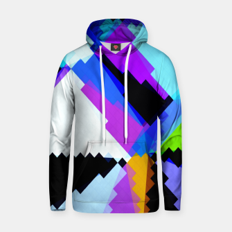 Thumbnail image of geometric triangle and square pattern abstract in blue purple green red Hoodie, Live Heroes