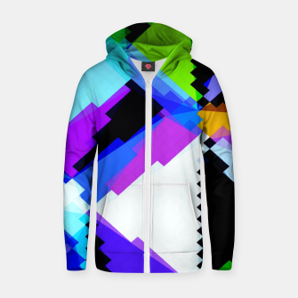Thumbnail image of geometric triangle and square pattern abstract in blue purple green red Zip up hoodie, Live Heroes