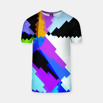Thumbnail image of geometric triangle and square pattern abstract in blue purple green red T-shirt, Live Heroes