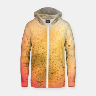 Thumbnail image of Living Coral and Yellow Spray Paint Zip up hoodie, Live Heroes