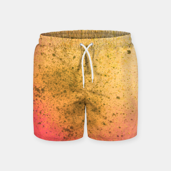 Thumbnail image of Living Coral and Yellow Spray Paint Swim Shorts, Live Heroes