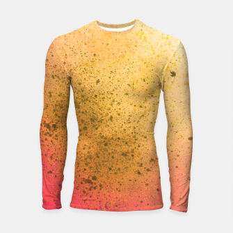 Thumbnail image of Living Coral and Yellow Spray Paint Longsleeve rashguard , Live Heroes
