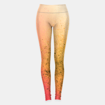 Thumbnail image of Living Coral and Yellow Spray Paint Leggings, Live Heroes